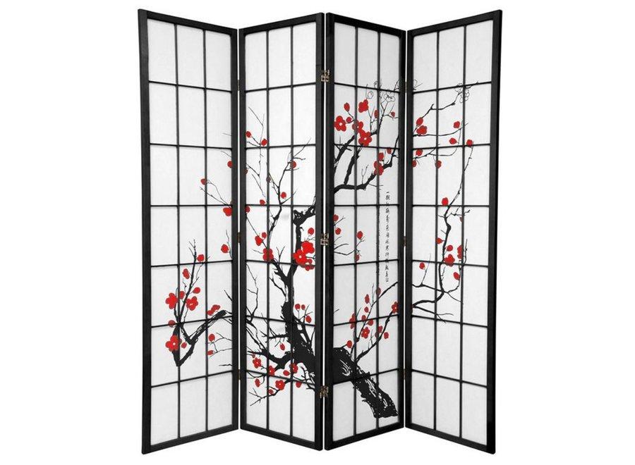Fine Asianliving Japanische Paravent Raumteiler L180xH180cm Paravent Shoji Sakura Reispapier
