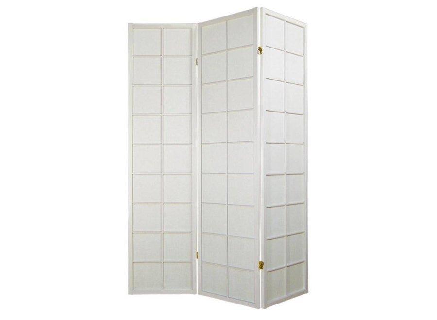 Fine Asianliving Japanische Paravent Raumteiler Trennwand B135xH180cm 3-teilig Shoji Reispapier Weiß