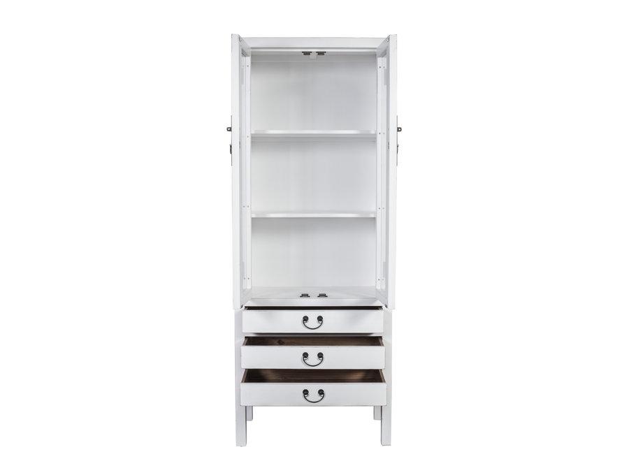 Fine Asianliving Chinesisches Bücherregal Vitrine Glastür Weiß B70xT40xH182cm