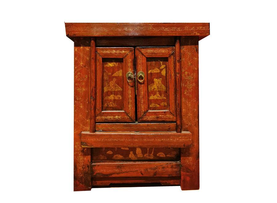 Fine Asianliving Antiker Chinesischer Nachttisch Handbemalt Rot B58xT42xH66cm