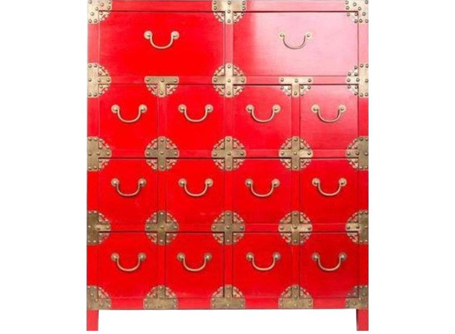 Chinesischer Schrank mit Schubladen Rot