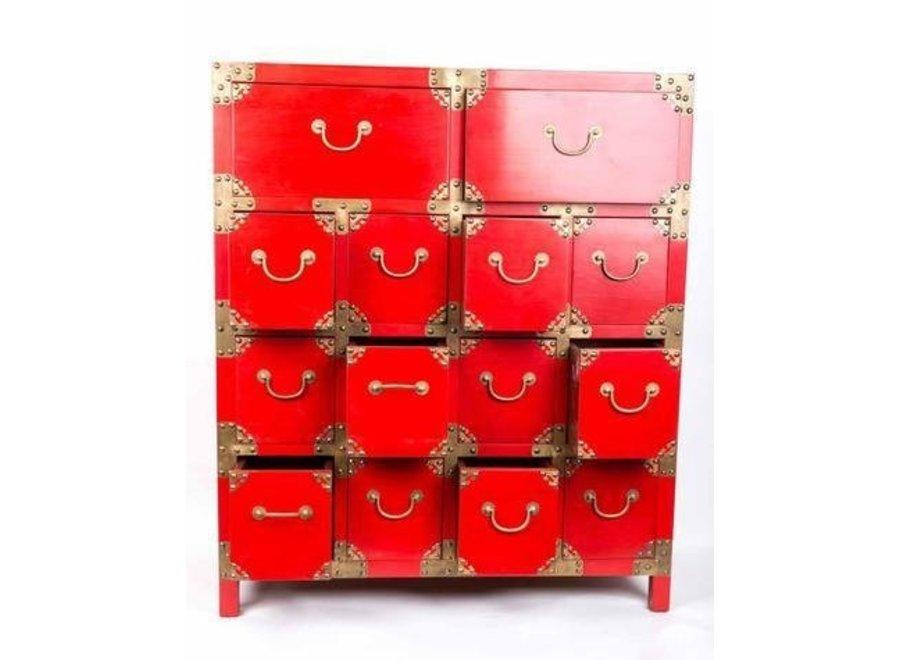 Fine Asianliving Chinesischer Schrank mit Schubladen Rot