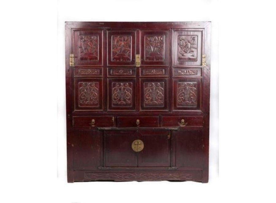 Antiker Chinesischer Schrank Handgefertigt Floralen Schnitzereien B156xT52xH174cm