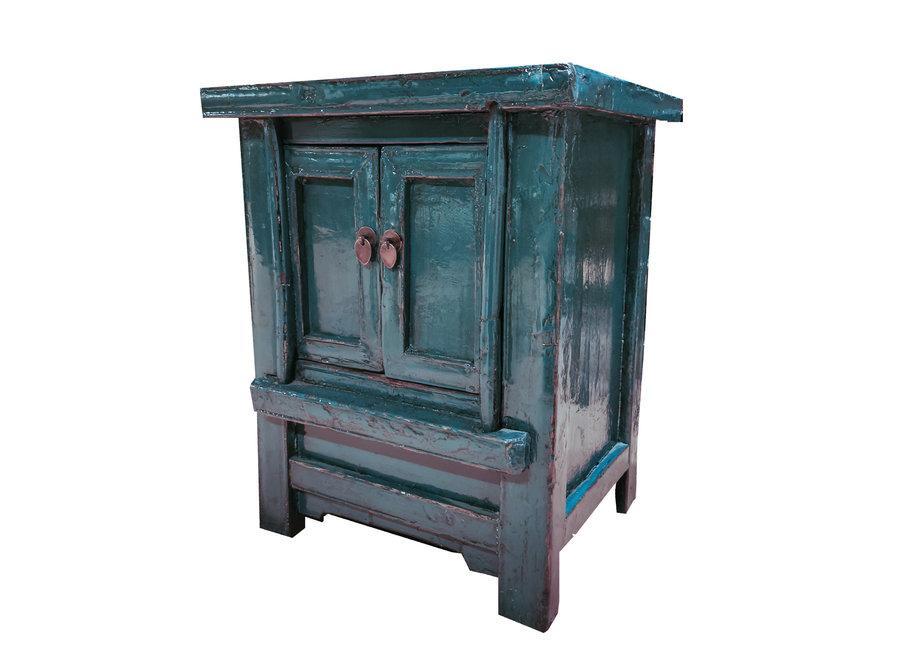 Fine Asianliving Antiker Chinesischer Schrank Glänzend Teal B56xT42xH68cm