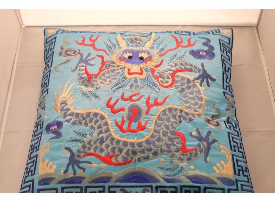 Chinesisches Kissen Handbestickt Blau Drache 40x40cm