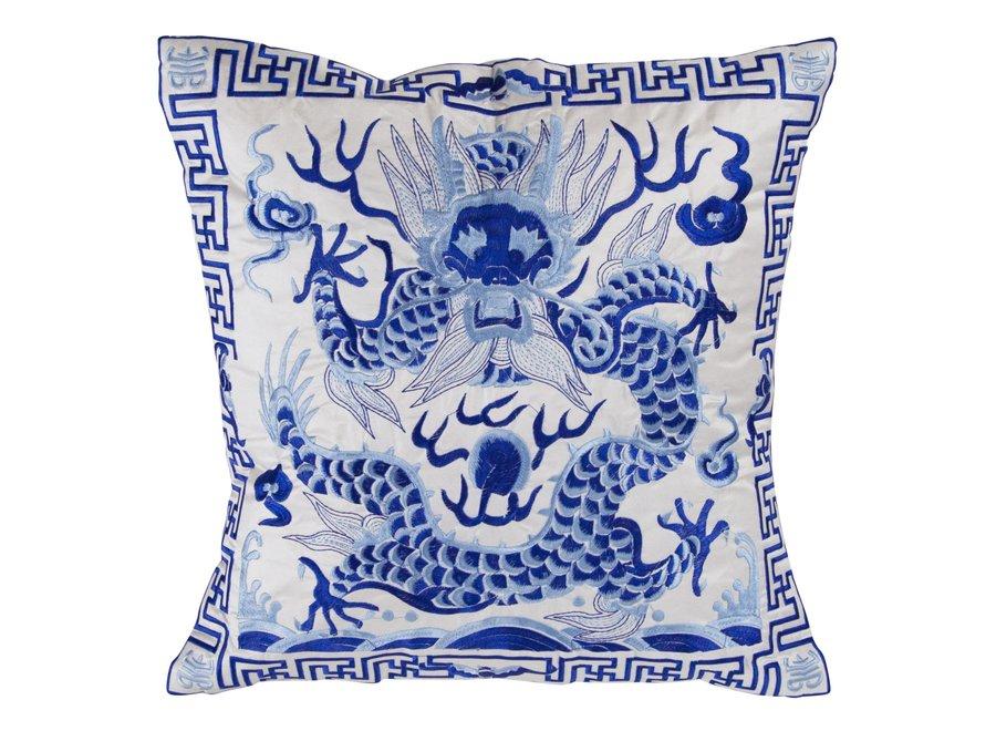 Chinesisches Kissen Handbestickt Weiß Drache 40x40cm