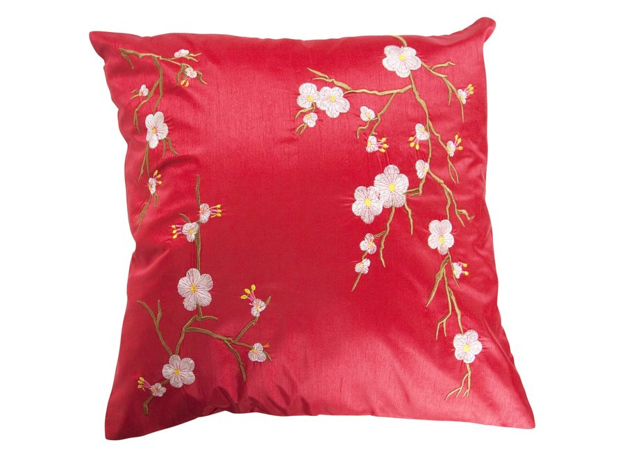 Fine Asianliving Chinesisches Kissen Rot Kirschblüten 40x40cm