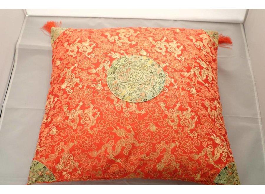 Fine Asianliving Chinesisches Kissen mit Quasten Orange 40x40cm