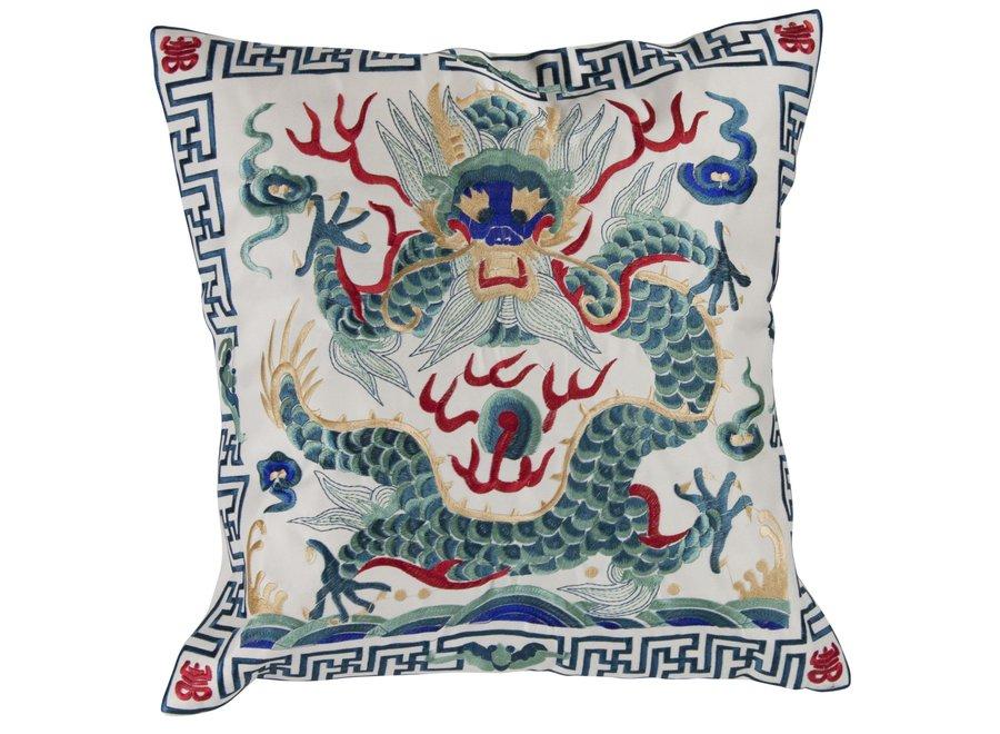Chinesisches Kissen Handbestickt Grauweiß Drache 40x40cm