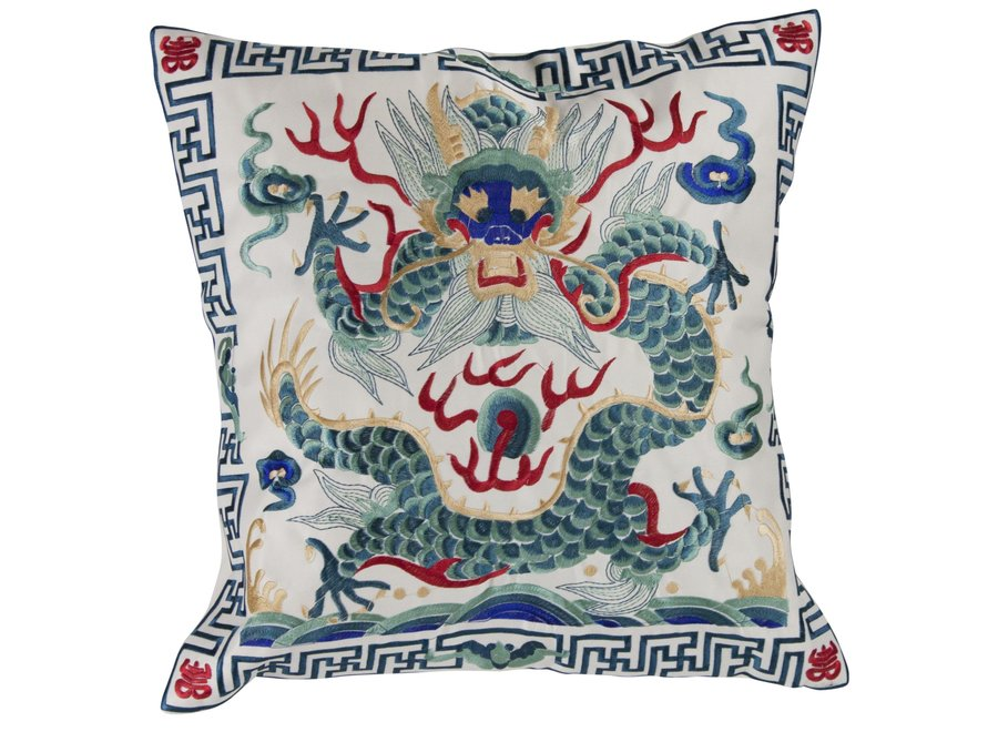 Fine Asianliving Chinesisches Kissen Handbestickt Grauweiß Drache 40x40cm