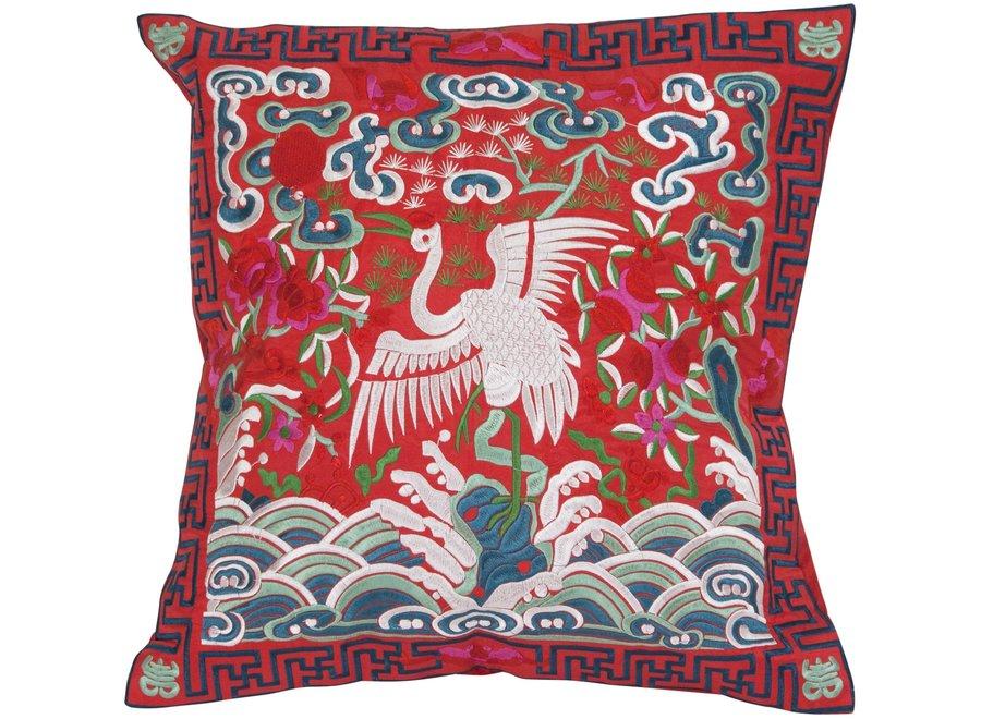 Chinesisches Kissen Rot Kranich 40x40cm