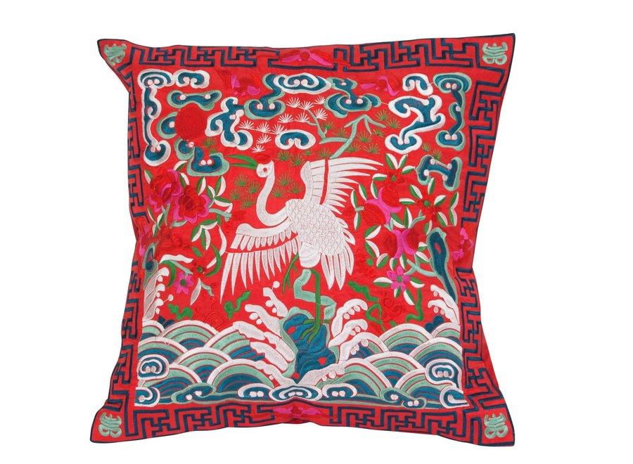 Fine Asianliving Chinesisches Kissen Rot Kranich 40x40cm