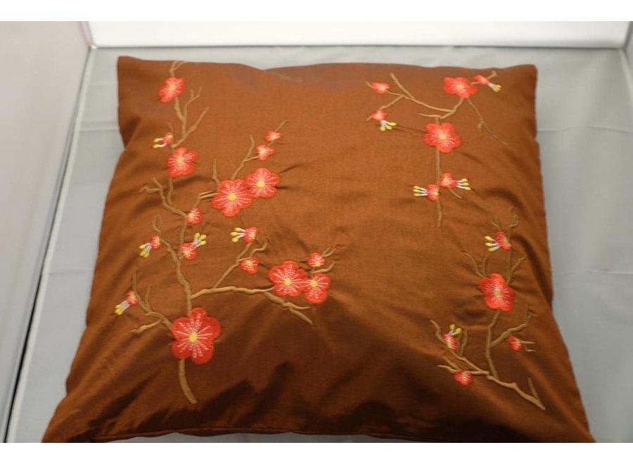 Fine Asianliving Chinese Cushion Sakura Cherryblossoms Brown 40x40cm