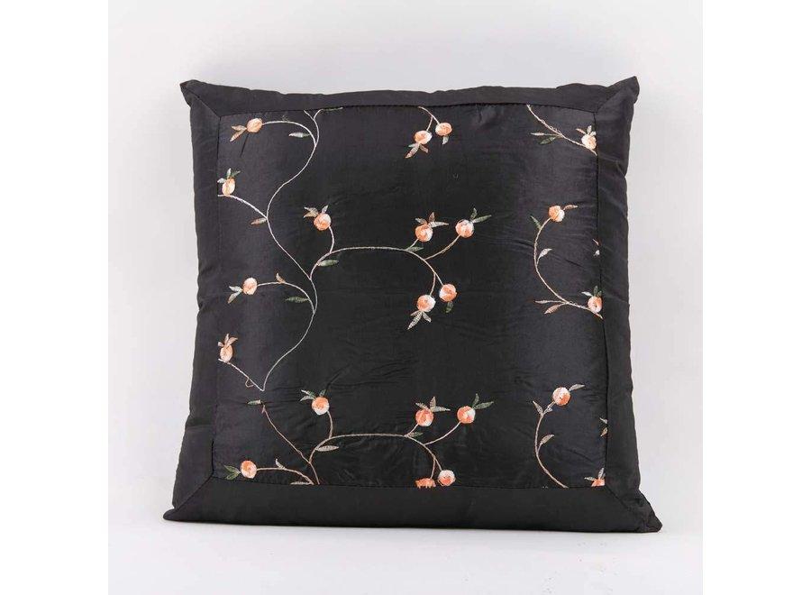 Chinesisches Kissen Seide Schwarz Blumen 40x40cm