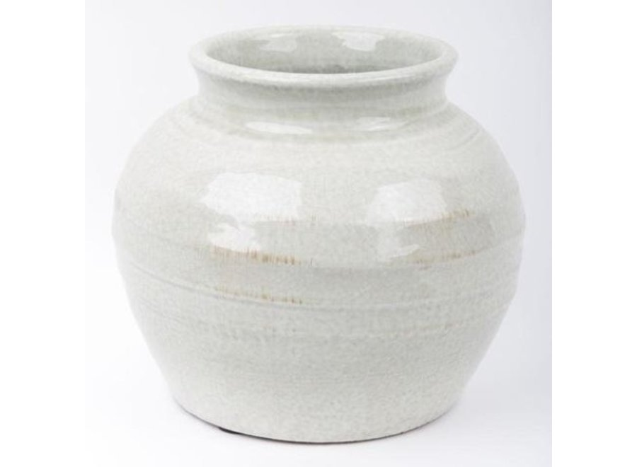 Fine Asianliving Chinesische Vase Porzellan Keramik Steingrau