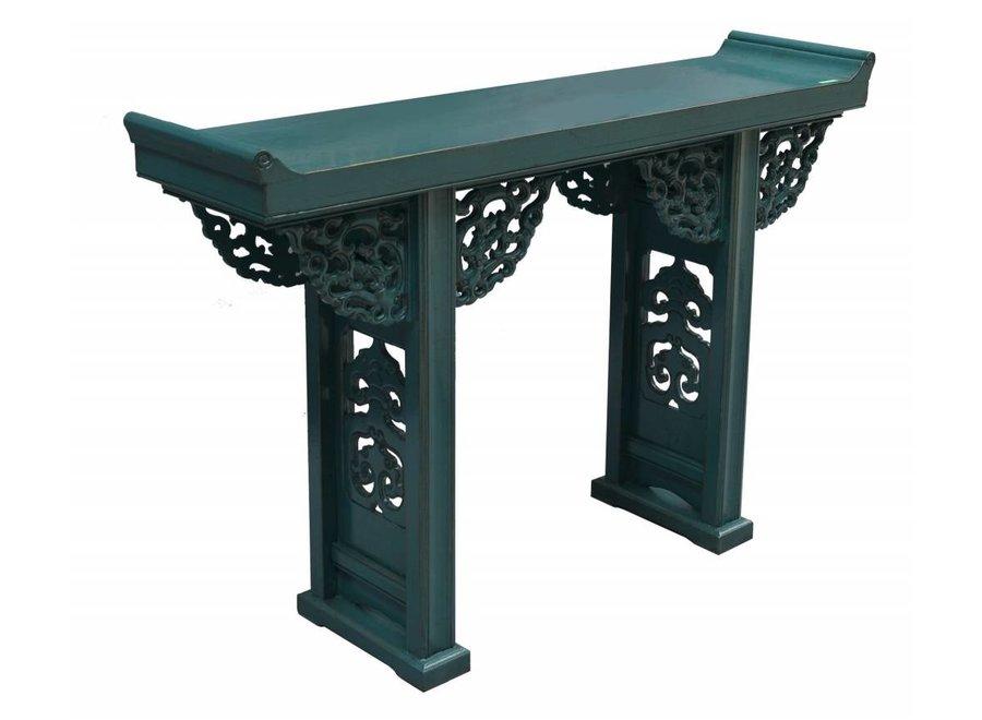 Fine Asianliving Chinesischer Konsolentisch Beistelltisch Blau mit Holzschnitzerei - Peking, China