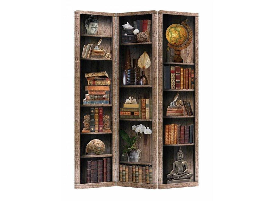 Fine Asianliving Paravent Raumteiler B120xH180cm 3-teilig Bücherregal