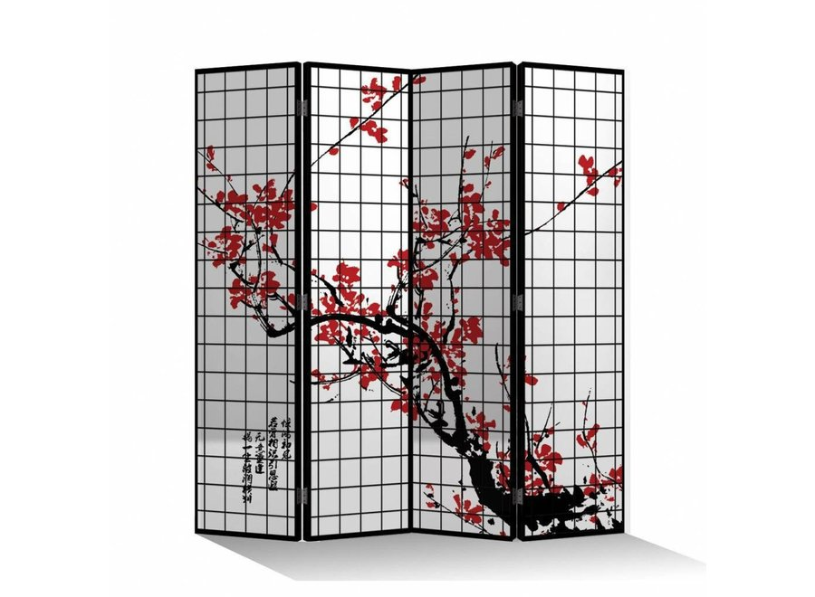 Fine Asianliving Paravent Raumteiler B160xH180cm 4-teilig Kirschblüten Schwarz