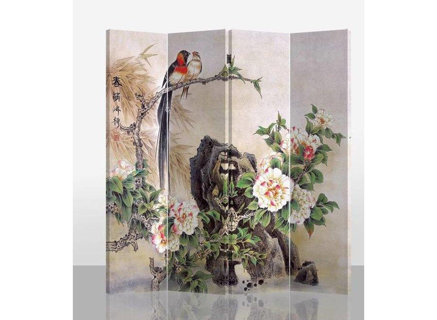 Orientalische Paravent Raumteiler B160xH180cm 4-teilig Vögel und Pfingstrosen