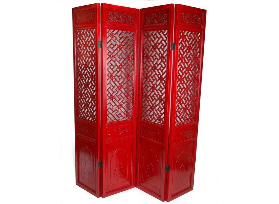 Fine Asianliving Chinesische Paravent Raumteiler Holz 4-teilig Handgeschnitzt Rot