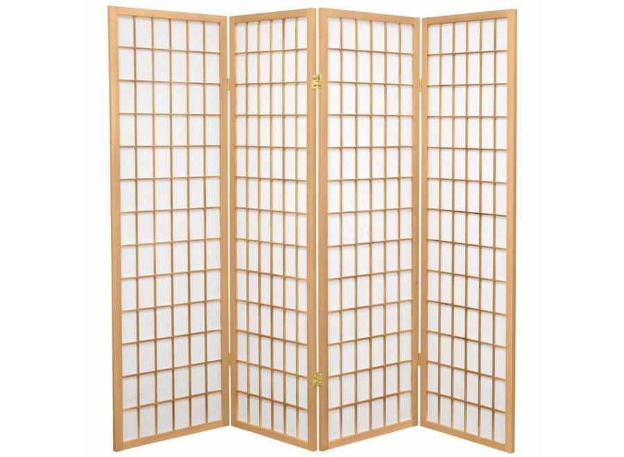 Fine Asianliving Japanische Paravent Raumteiler Trennwand B180xH180cm 4-teilig Shoji Reispapier Naturell