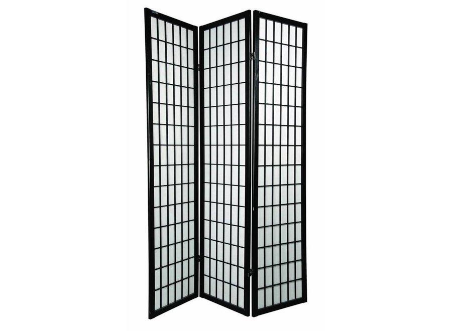 Japanese Room Divider 3 Panels W135xH180cm Privacy Screen Shoji Rice-paper Black - Tana