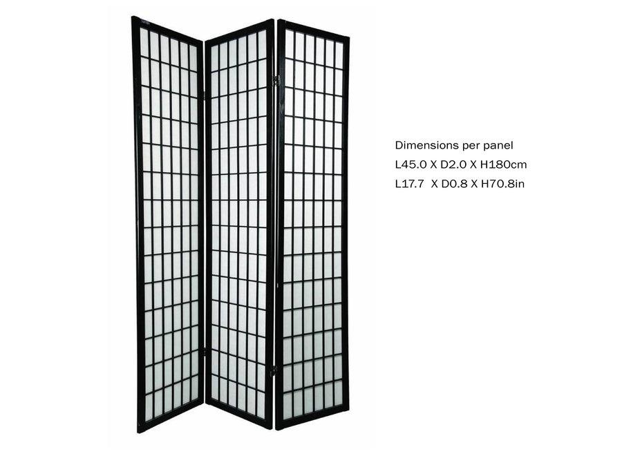 Fine Asianliving Japanese Room Divider 3 Panels W135xH180cm Privacy Screen Shoji Rice-paper Black - Tana