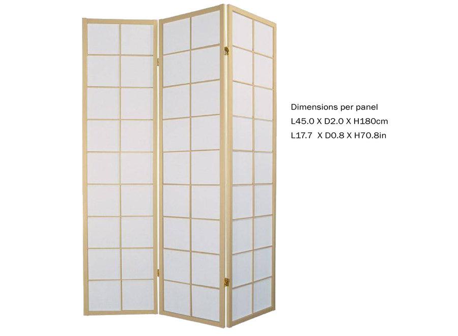 Fine Asianliving Japanische Paravent Raumteiler Trennwand B135xH180cm 3-teilig Shoji Reispapier Naturell