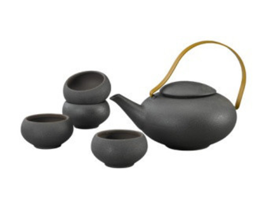 Fine Asianliving Oriental Tea Set Porcelain Handmade Modern Matte Black 5pcs