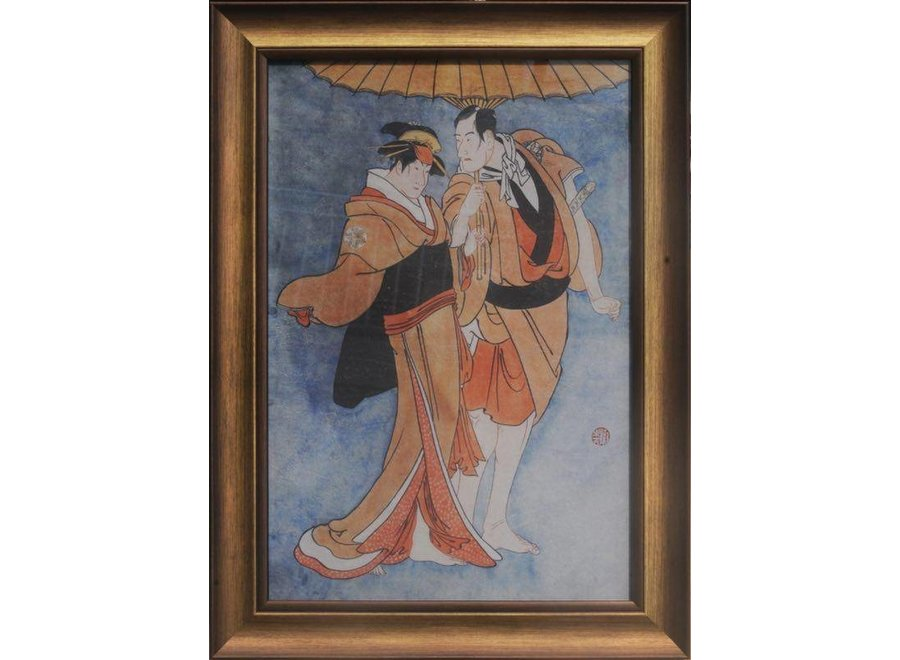 Fine Asianliving Japanese Painting Framed Wall Decor Japanese Couple W36xH58cm