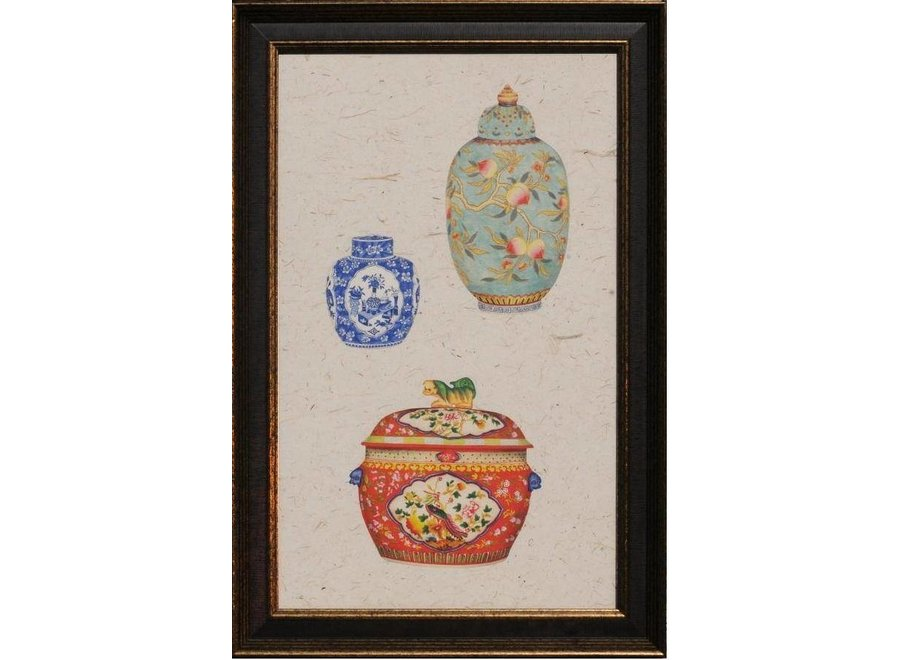 Fine Asianliving Chinese Painting with Frame Chinese Porcelain Pots Multicolour W41xH68cm