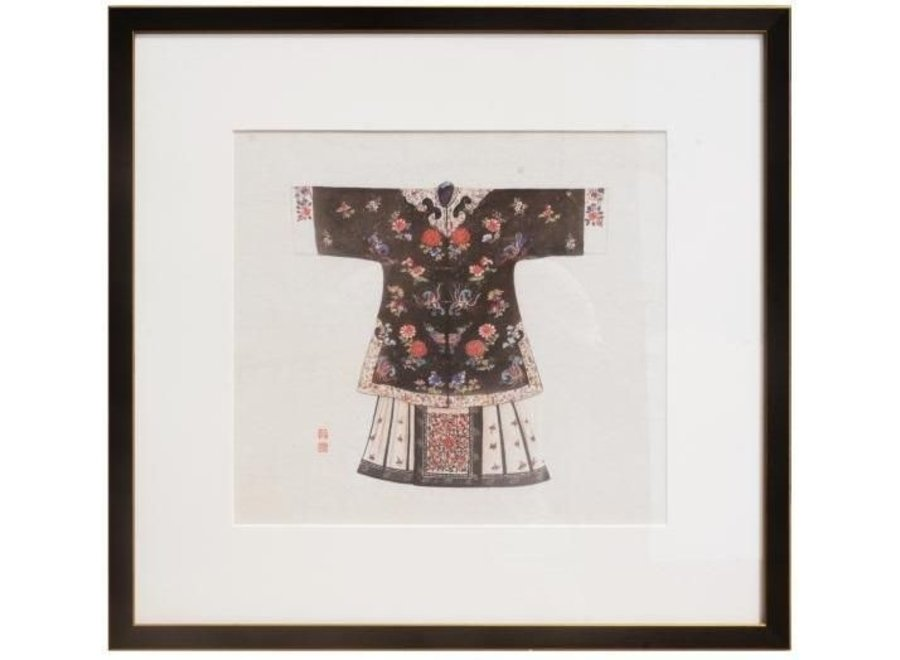 Fine Asianliving Chinese Painting with Frame Chinese Clothing Black W43xH43cm