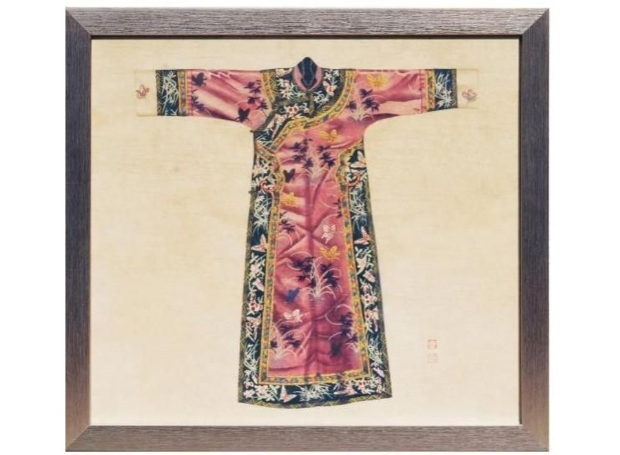 Fine Asianliving Chinese Painting with Frame Chinese Qipao Dress Pink W33xH36cm