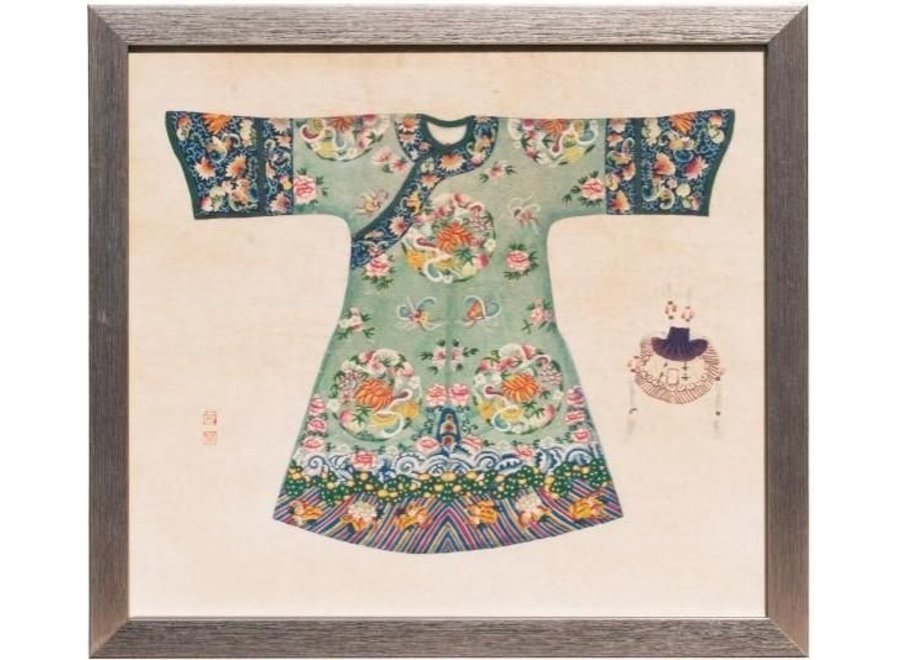 Fine Asianliving Chinese Painting with Frame Chinese Dress Mint W33xH36cm