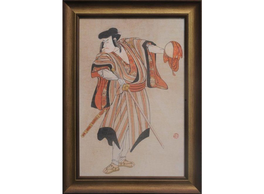 Fine Asianliving Japanese Painting Framed Wall Decor Warrior with Catana Sword W36xH58cm