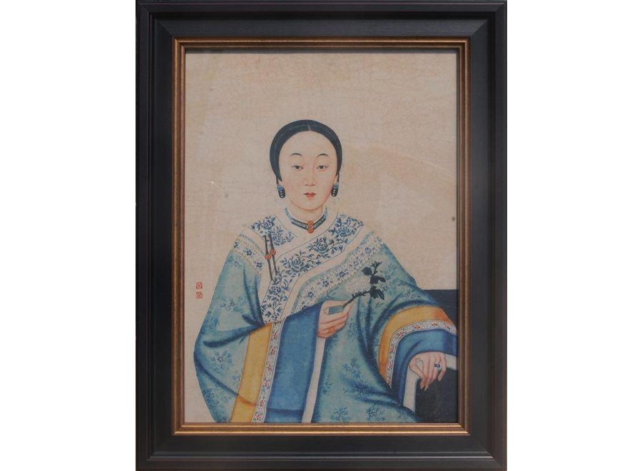 Chinese Painting Framed Wall Decor Chinese Lady W32xH42cm