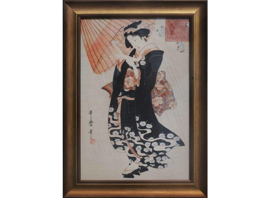 Fine Asianliving Japanese Painting Framed Wall Decor Japanese Lady with Parasol W36xH58cm