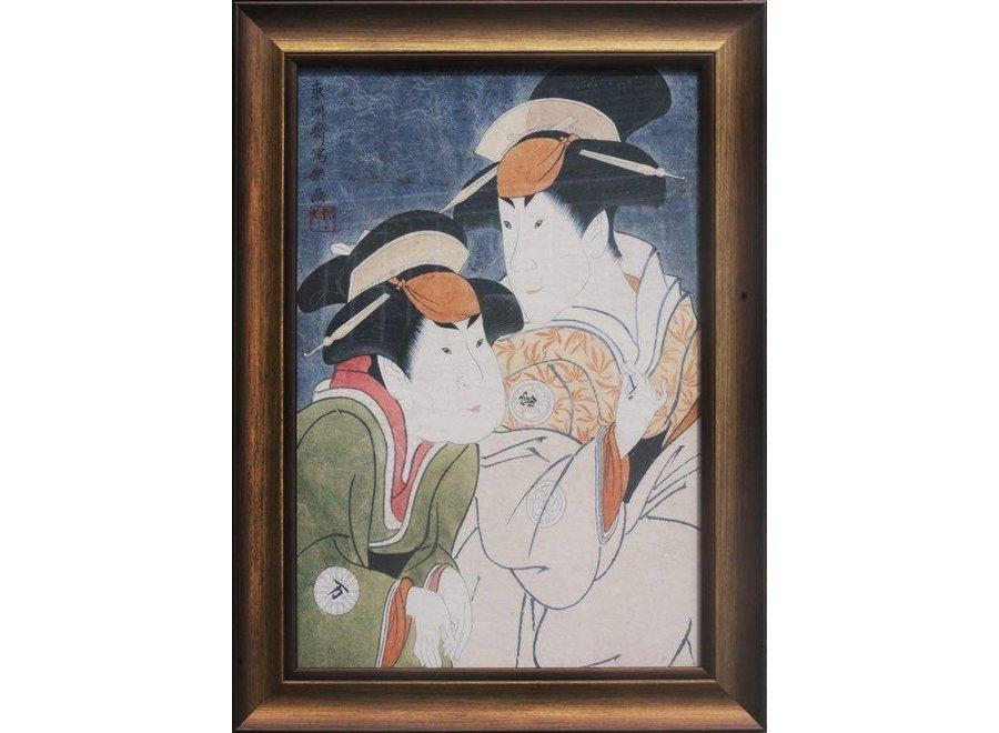 Japanese Painting Framed Wall Decor Japanese Ladies W36xH58cm