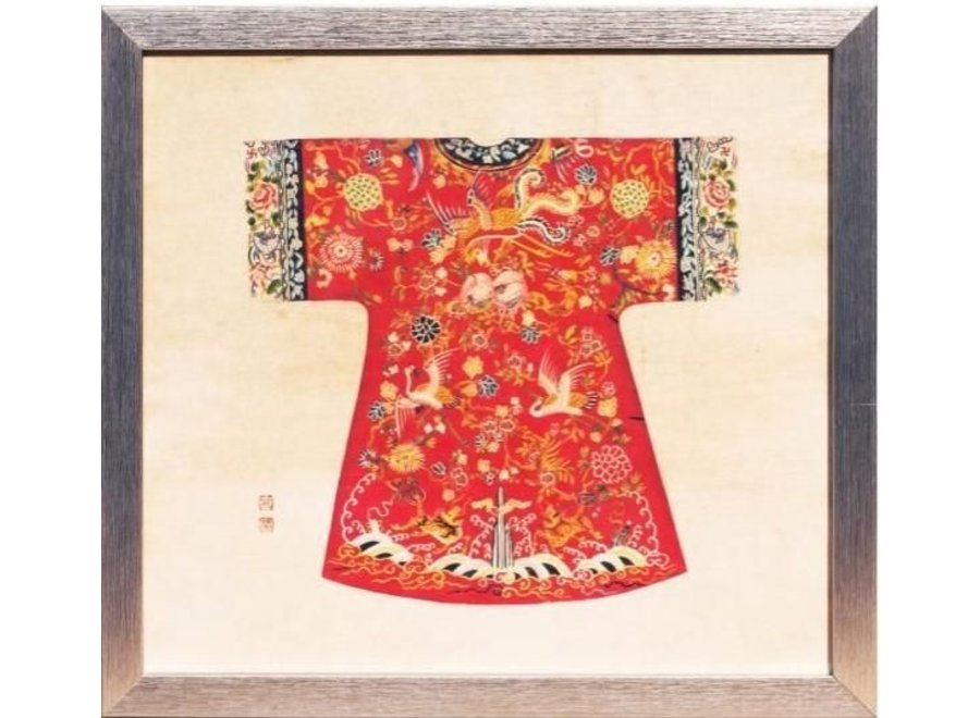 Fine Asianliving Chinese Painting with Frame Chinese Empress Clothing Red W33xH36cm