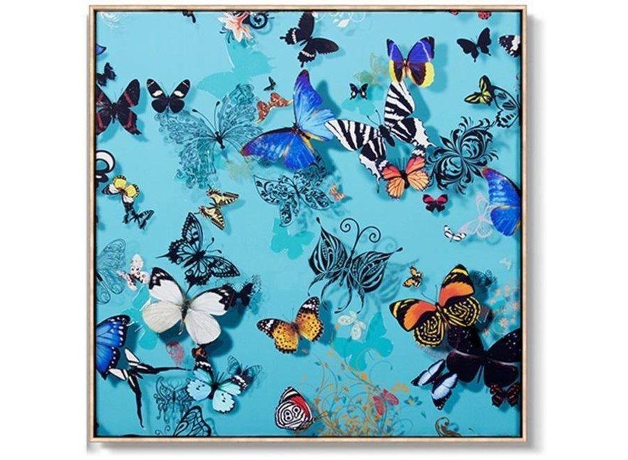 Oriental Painting Various Butterflies Blue Background