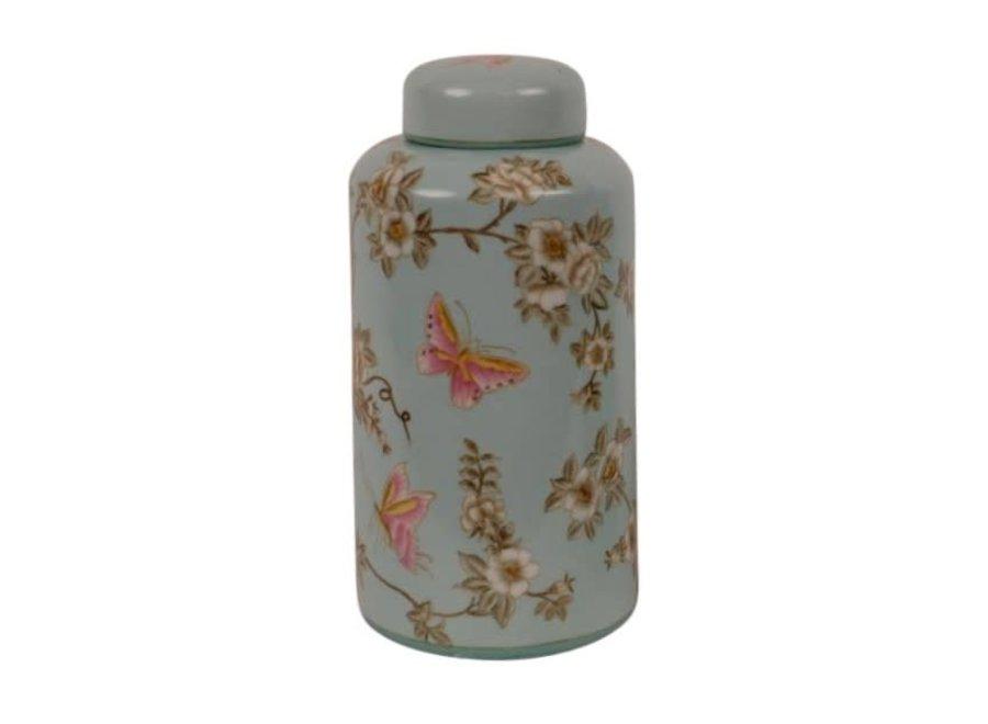 Fine Asianliving Chinesische Vase mit Deckel Porzellan Handbemalt Türkis Groß