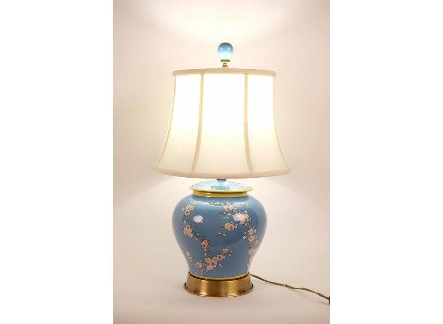 Fine Asianliving Chinesische Tischlampe Porzellan mit Schirm Handgemalt Ingwertopf Blau