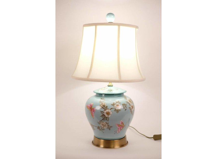 Chinesische Tischlampe Porzellan Türkis handbemalte Blüten D35xH63cm