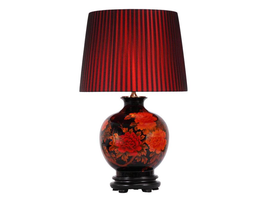 Chinesische Tischlampe Porzellan mit Schirm Schwarz mit Roten Blumen Groß