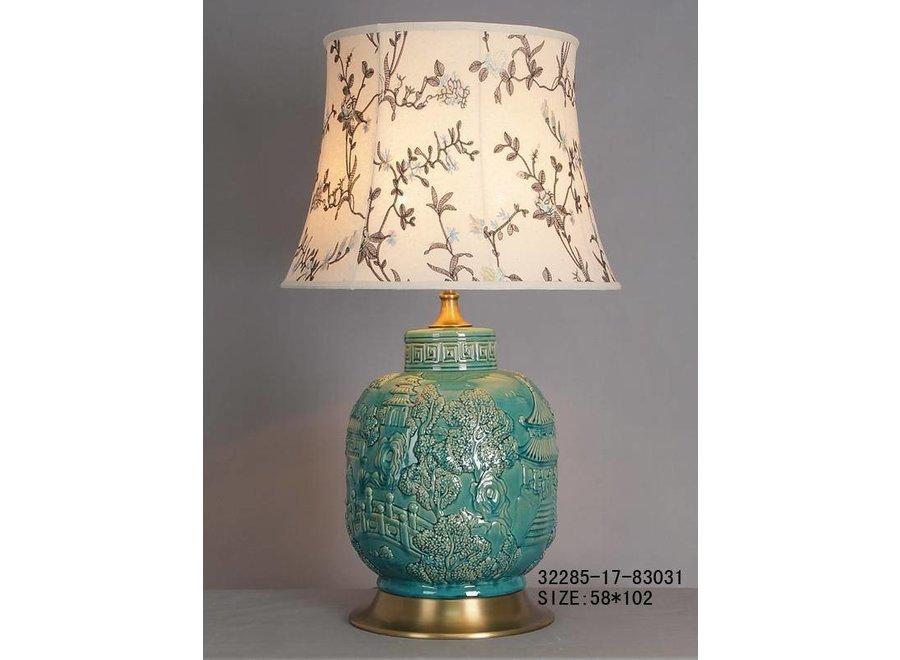 Fine Asianliving Chinesische Tischlampe Porzellan mit Schirm Türkis Dorf