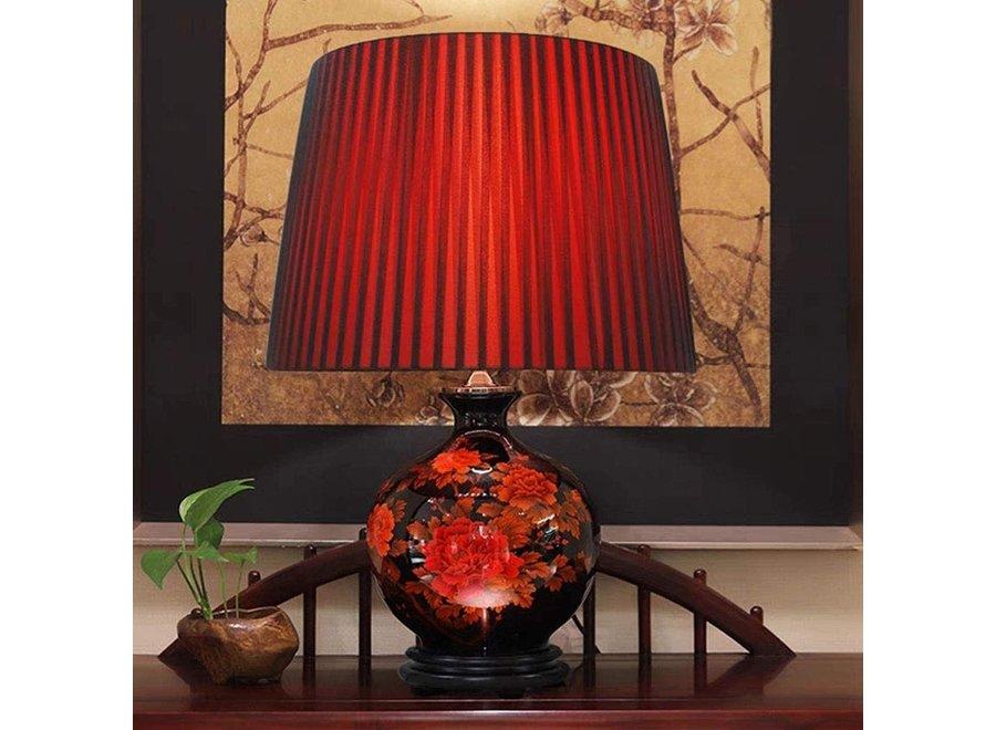 Fine Asianliving Chinesische Tischlampe Porzellan mit Schirm Schwarz mit Roten Blumen Klein