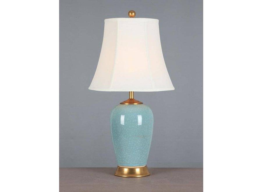 Chinesische Tischlampe Porzellan mit Schirm Hellblau