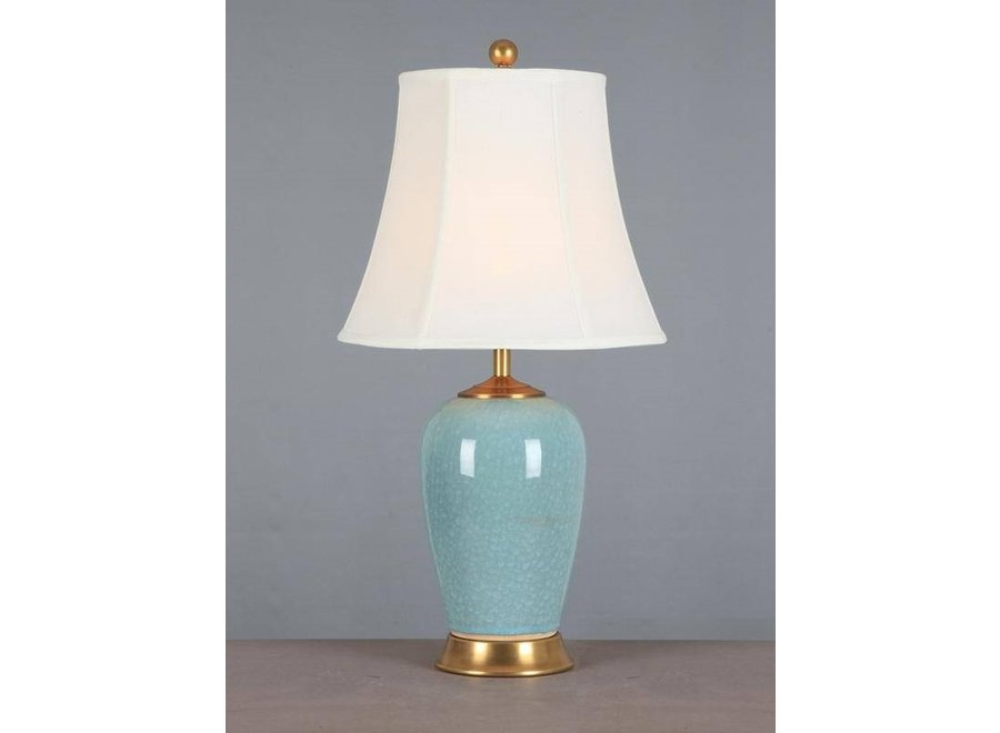 Fine Asianliving Chinesische Tischlampe Porzellan mit Schirm Hellblau
