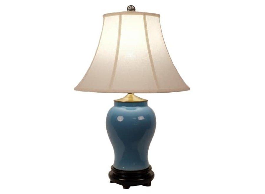 Chinesische Tischlampe Porzellan mit Schirm Blau