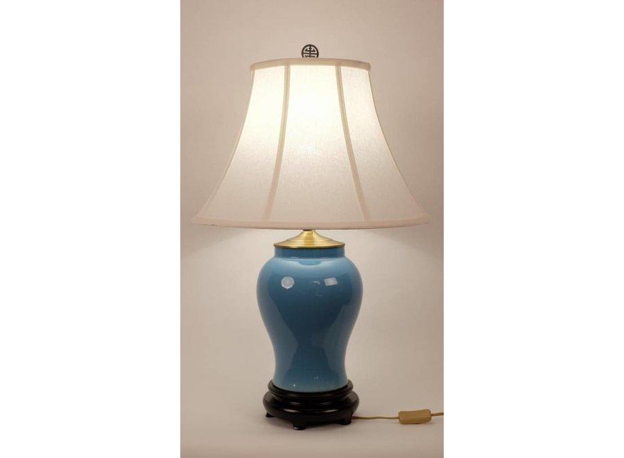Fine Asianliving Chinesische Tischlampe Porzellan mit Schirm Blau